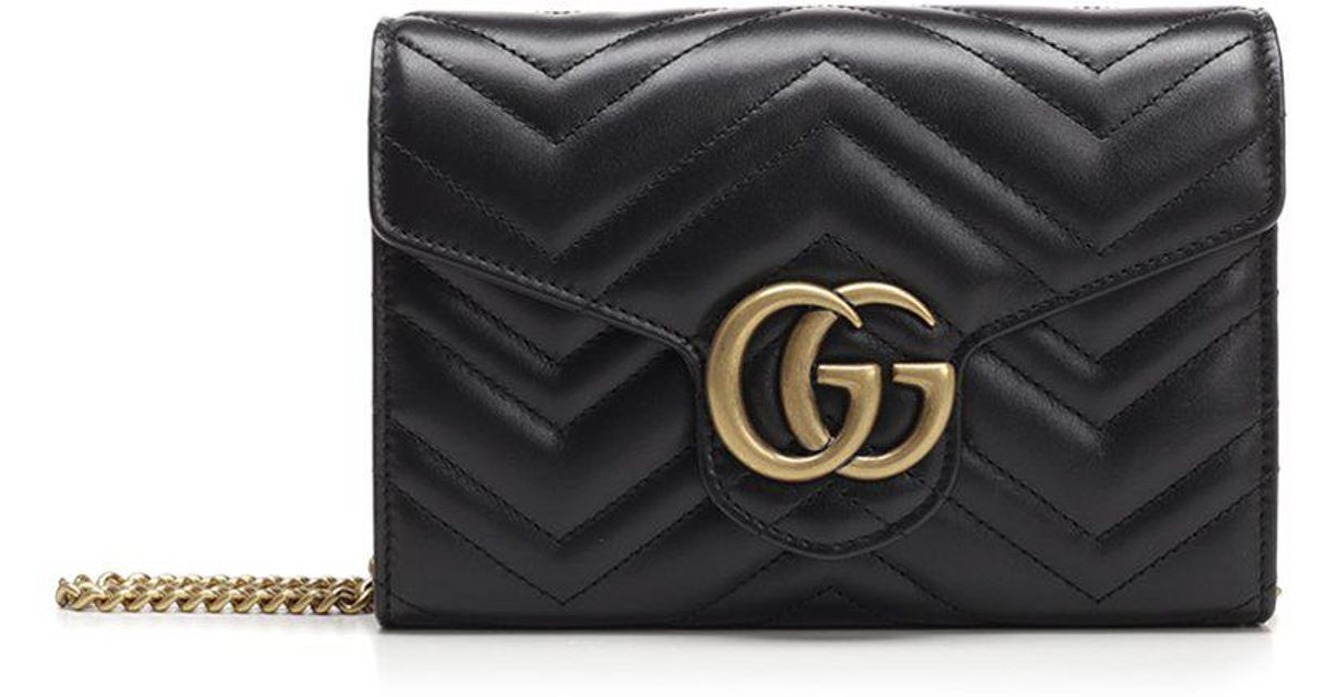 00da587ffea Lyst - Gucci Gg Marmont Quilted Wallet Bag in Black