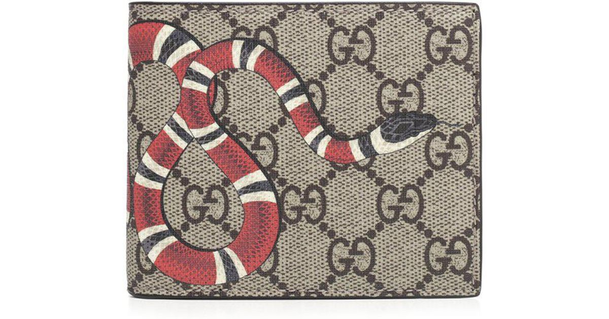 79eb55a8b3e Lyst - Gucci King Snake GG Supreme Wallet in Natural for Men