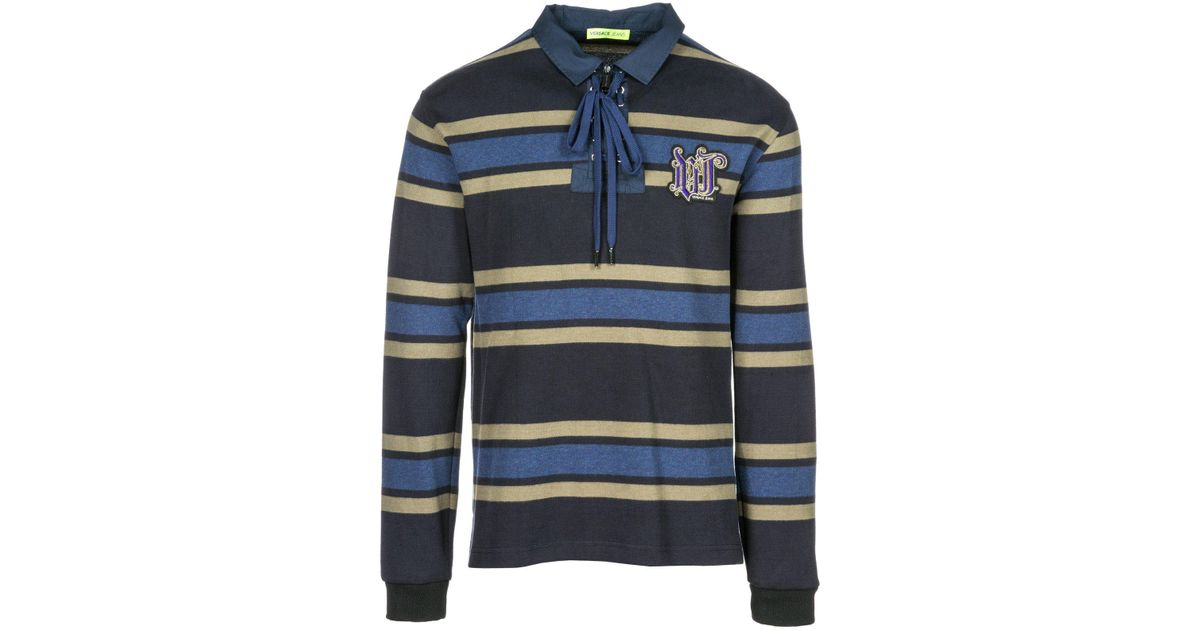 78b8b29d Versace Jeans Polo Collar Striped Long Sleeve T-shirt in Blue for Men - Lyst