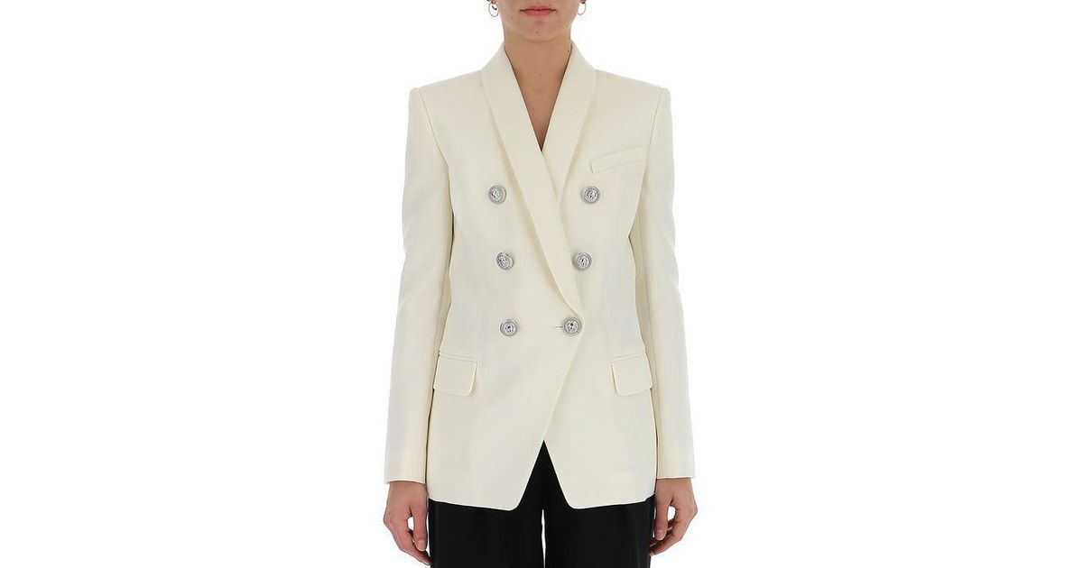 69105b16 Lyst - Balmain Double Breasted Tailored Jacket in Natural