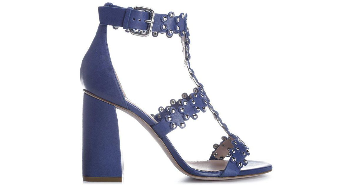 49282b1fdaf Red Valentino Flower Puzzle Sandals in Blue - Lyst