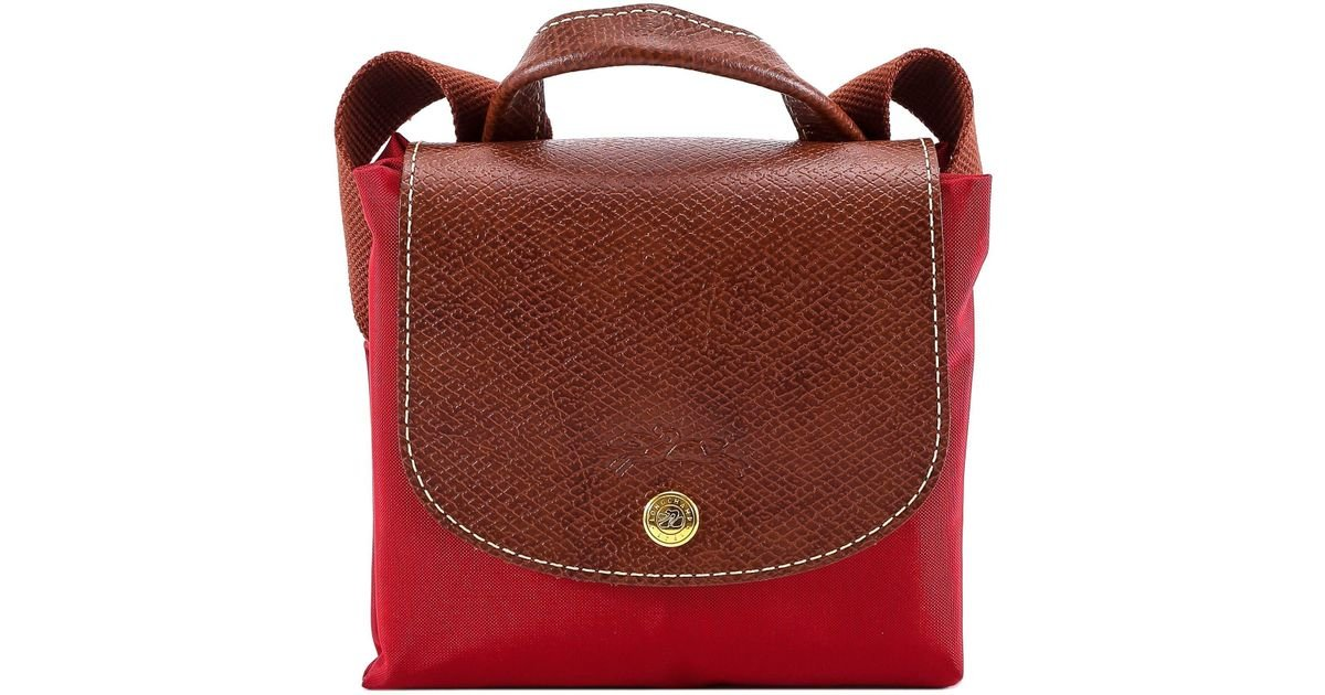 Longchamp Le Pliage Folding Backpack in Red - Lyst 6e5d55205b5ab