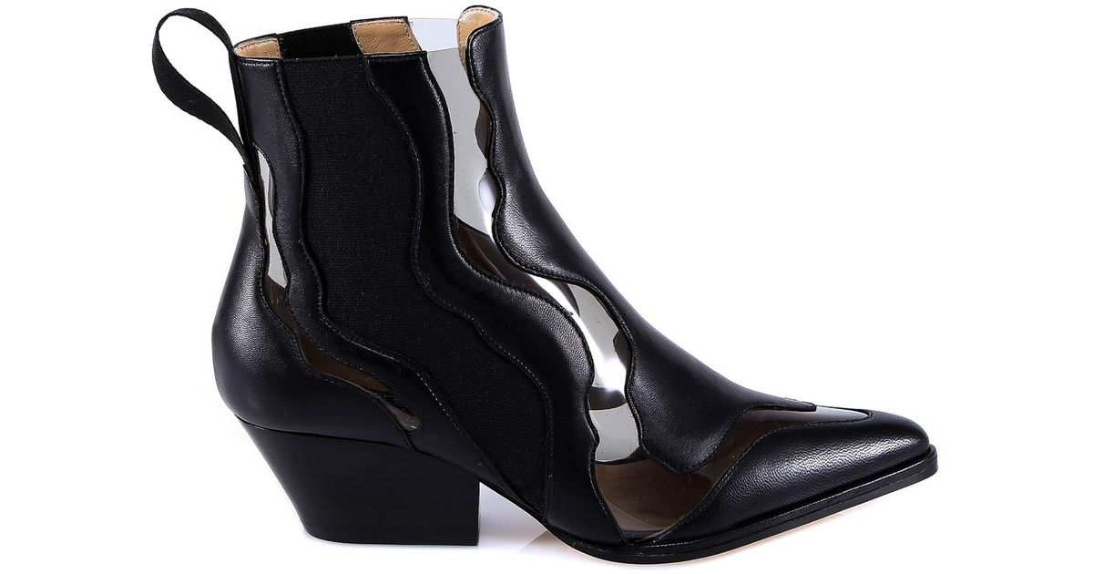 95a9d450177 Sergio Rossi Transparent Cut Out Design Ankle Boots in Black - Lyst