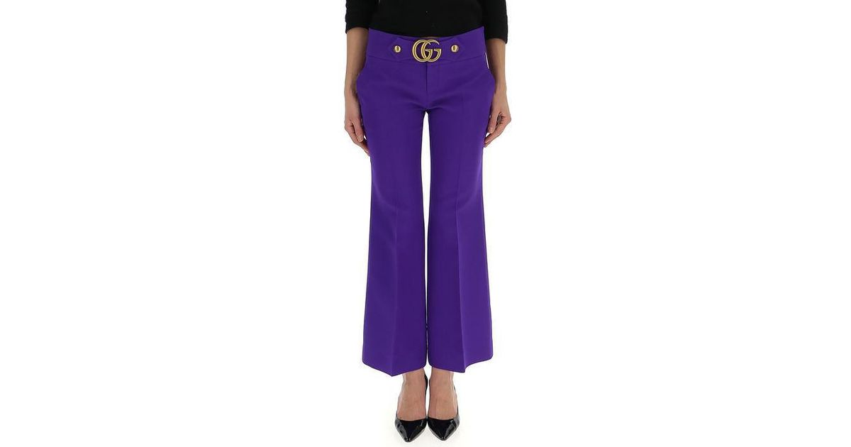 8a85a19821b Lyst - Gucci GG Marmont Stud Detail Pants in Purple