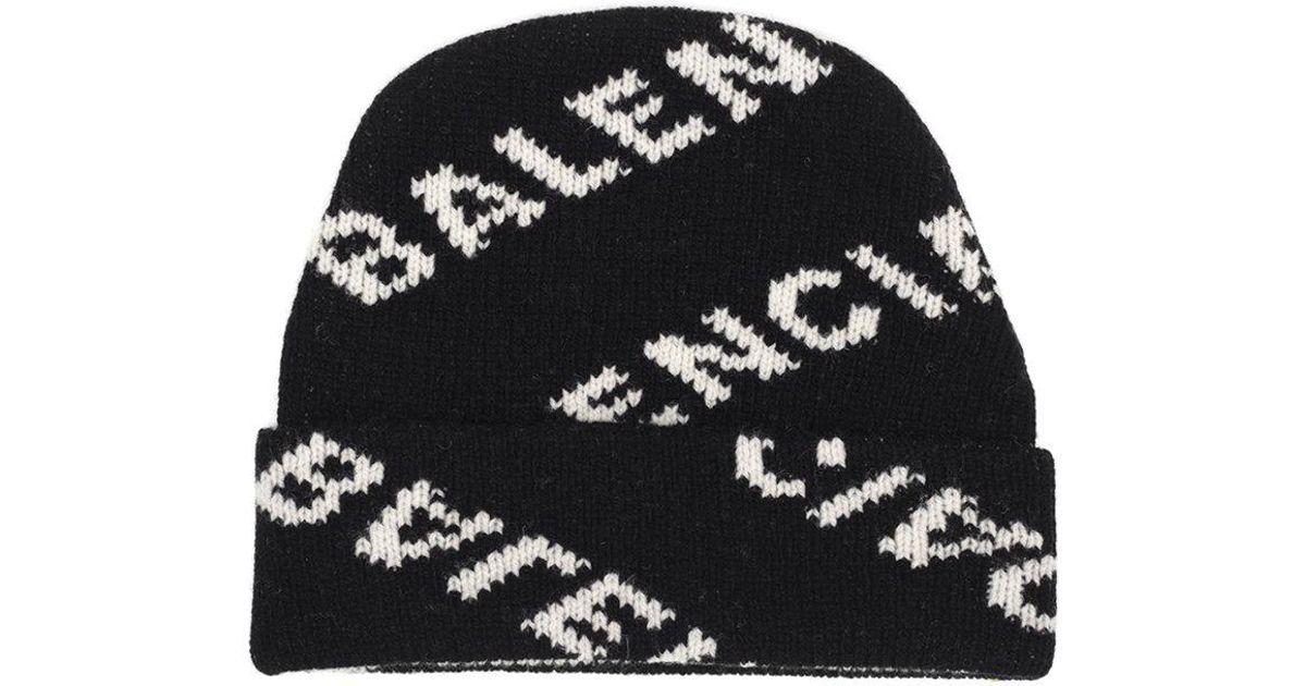 7203af7ed93 Lyst - Balenciaga Logo Intarsia Wool-blend Beanie in Black - Save 46%