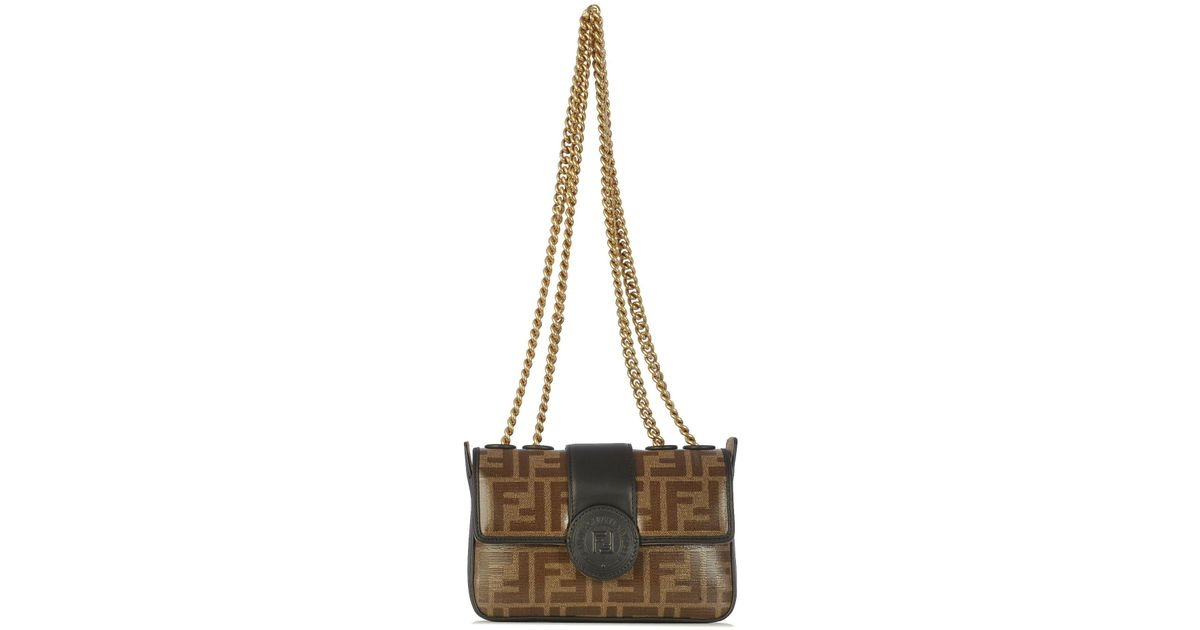 6ff56b6a9cb5 Fendi Mini Ff Logo Shoulder Bag - Lyst
