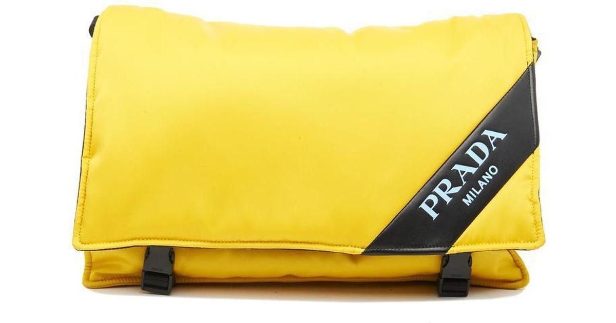 8faa3cb1e8b8 ... order prada logo messenger bag in yellow for men lyst 67d36 8238b