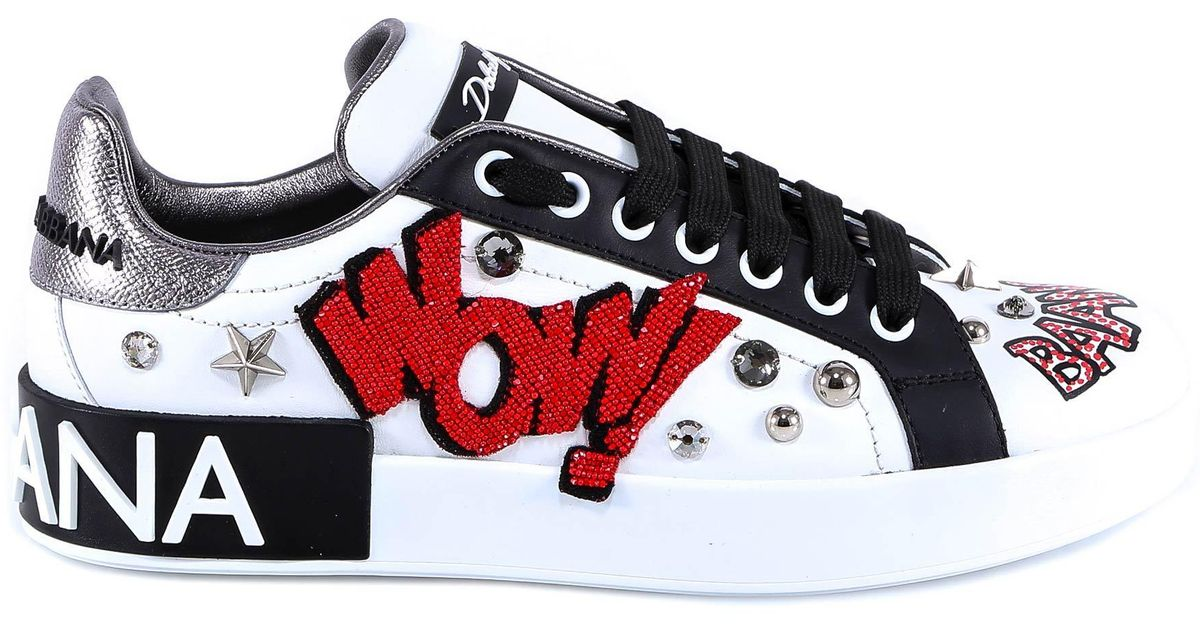 19acfebc8b0 Dolce & Gabbana Wow Studded Sneakers in White - Lyst