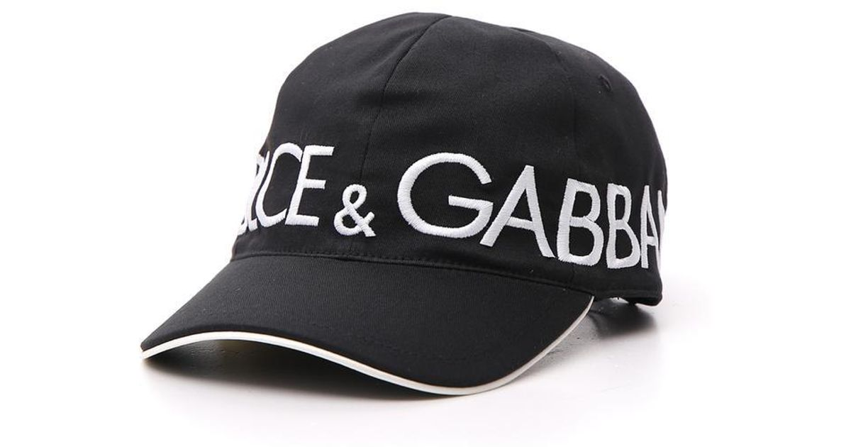 3ff8048c61a Dolce   Gabbana Cotton Baseball Cap With Dolce gabbana Embroidery in Black  for Men - Lyst