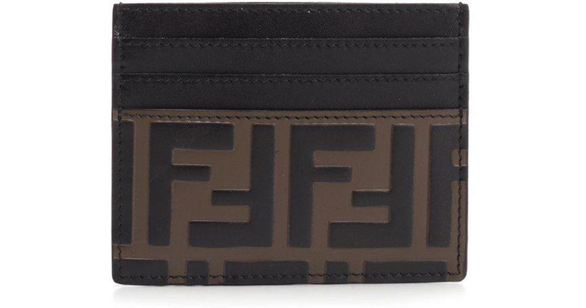 04862137 Fendi - Black Ff Monogram Cardholder - Lyst