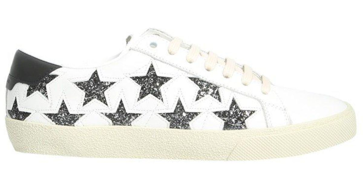2e3522143b0 Saint Laurent Stars Lace-up Sneakers in White - Lyst