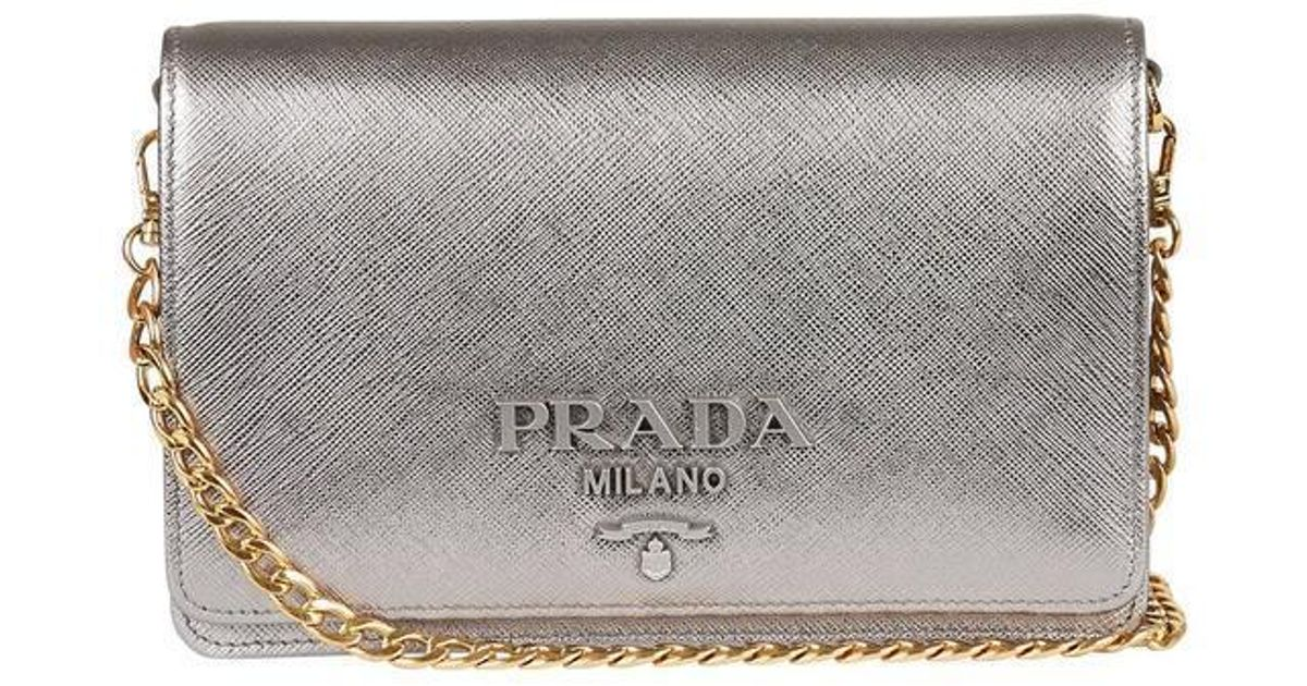 58e0b7feba5896 Lyst - Prada Chain Strap Crossbody Bag in Metallic
