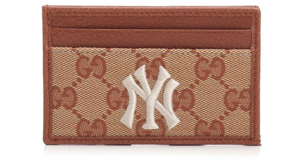177faa8624bd Gucci GG Ny Yankees Cardholder in Brown for Men - Lyst