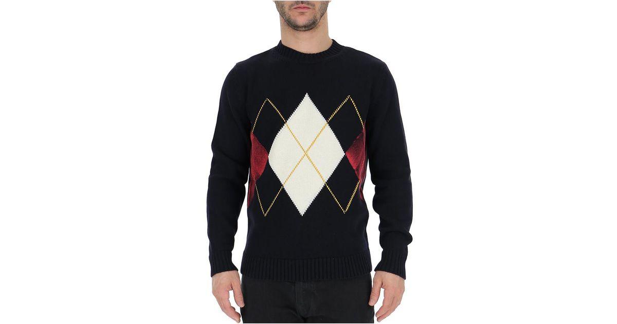 Ballantyne Cotton Argyle Pattern Sweater In Blue For Men