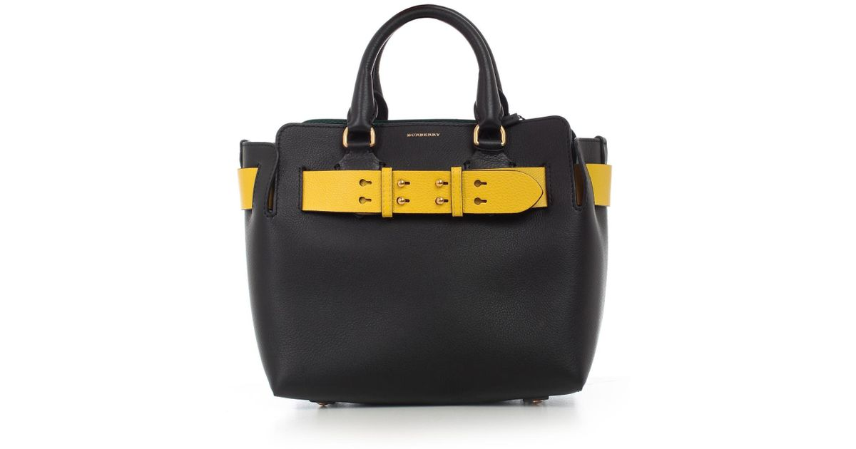 4cbb72ea721e Burberry Contrast Strap Small Tote Bag in Black - Lyst