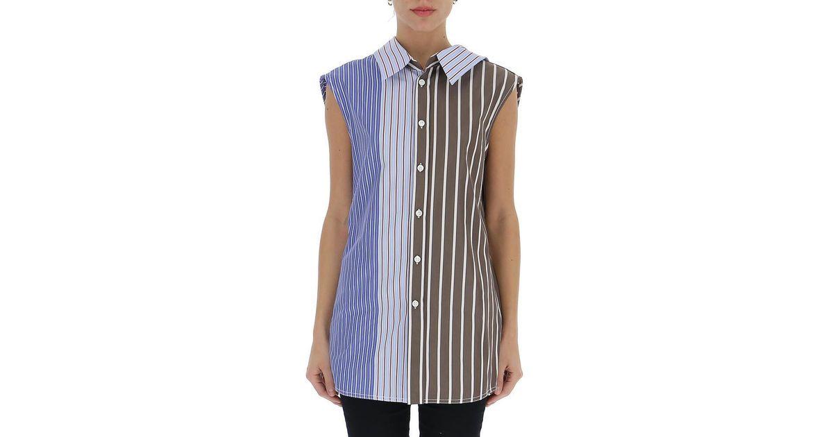 9aa08e35408a14 Lyst - Marni Striped Sleeveless Blouse in Blue