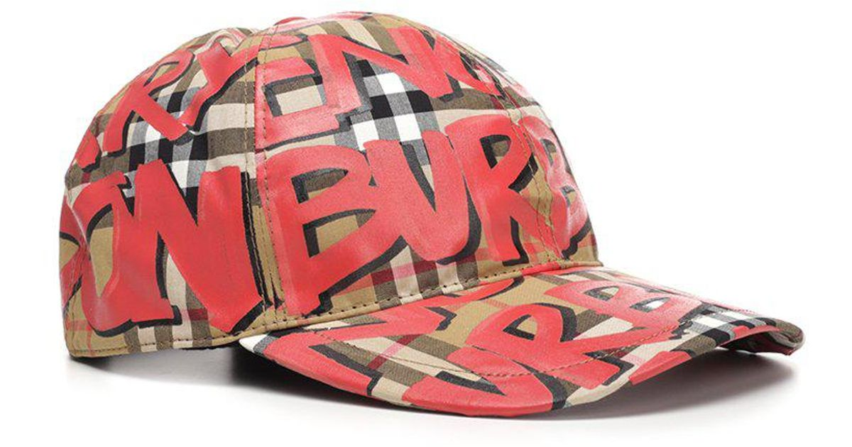 789100acd2b Burberry Graffiti Print Checked Cap in Red - Lyst