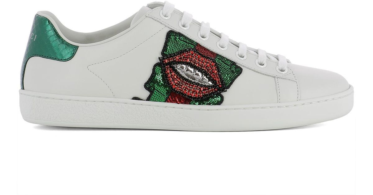 af3b6903e86 Gucci Lips Sequin Sneakers in White - Lyst