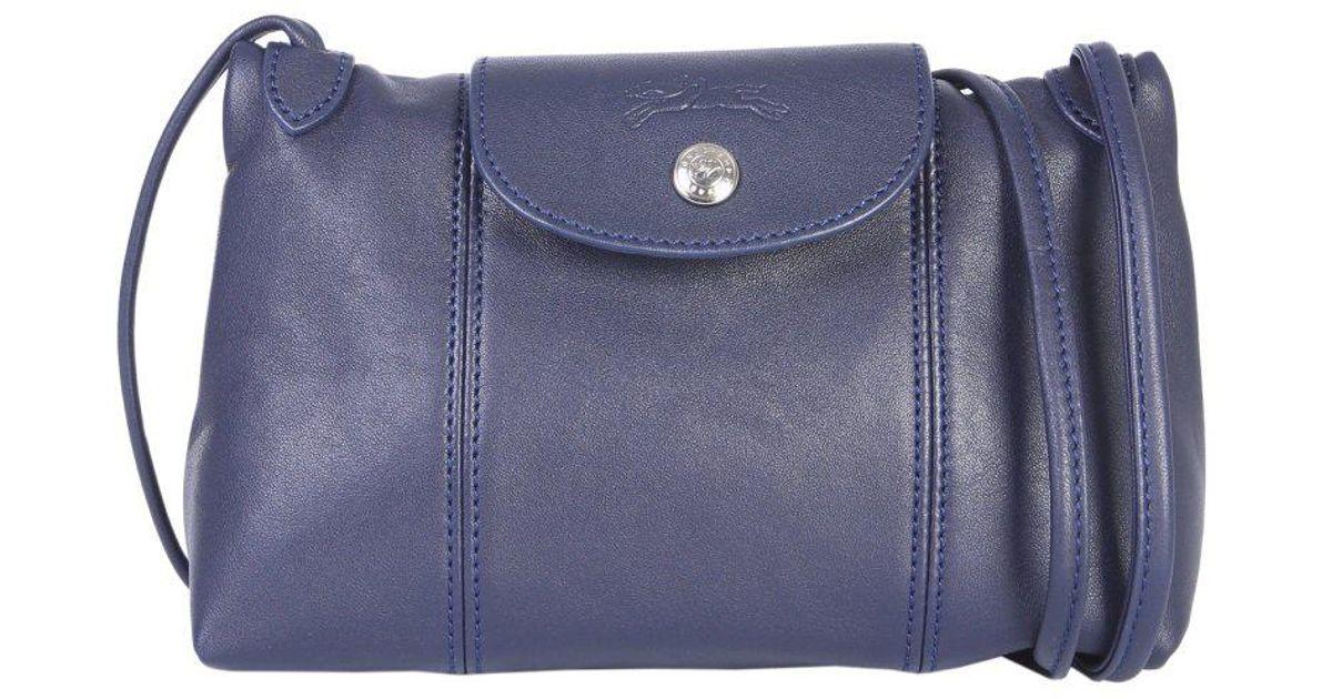 baa419f3e8ba Longchamp Le Pliage Cuir Crossbody Bag in Blue - Lyst