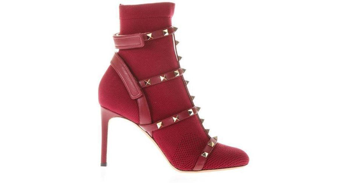 1cc165c91ff Valentino Garavani Rockstud Sock Boots in Red - Lyst