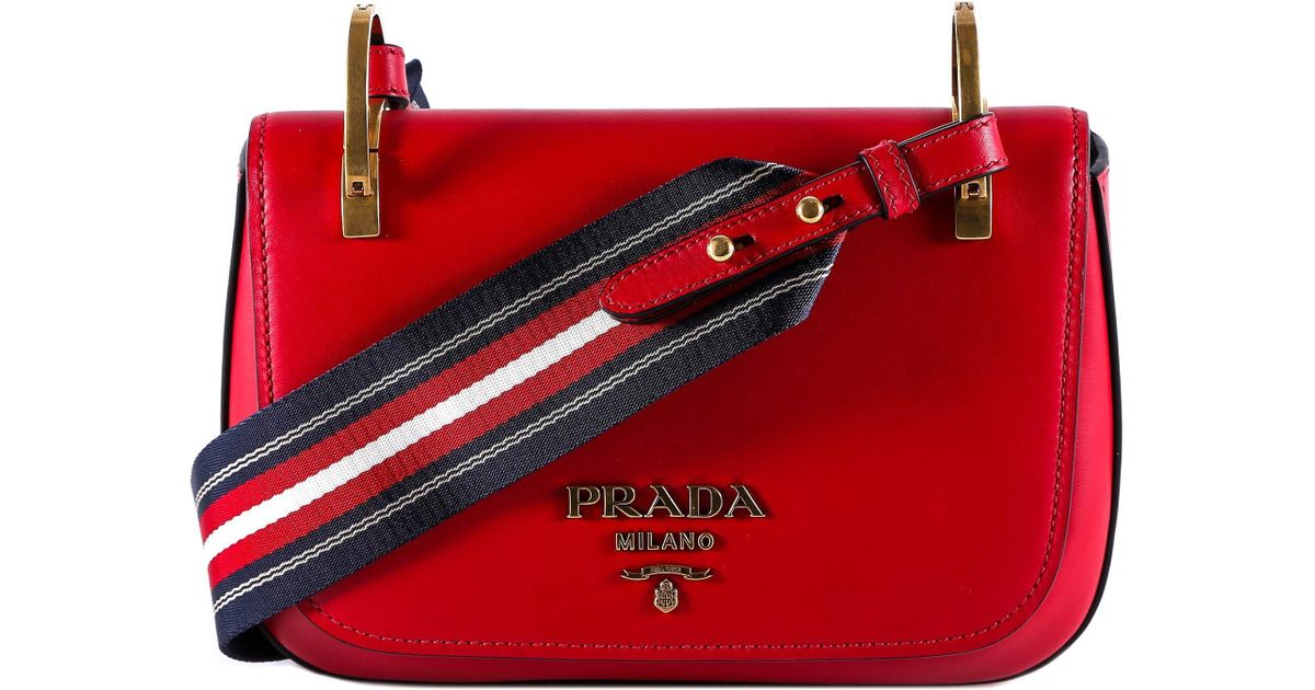 dda211a7704b Lyst - Prada Striped Strap Shoulder Bag in Red