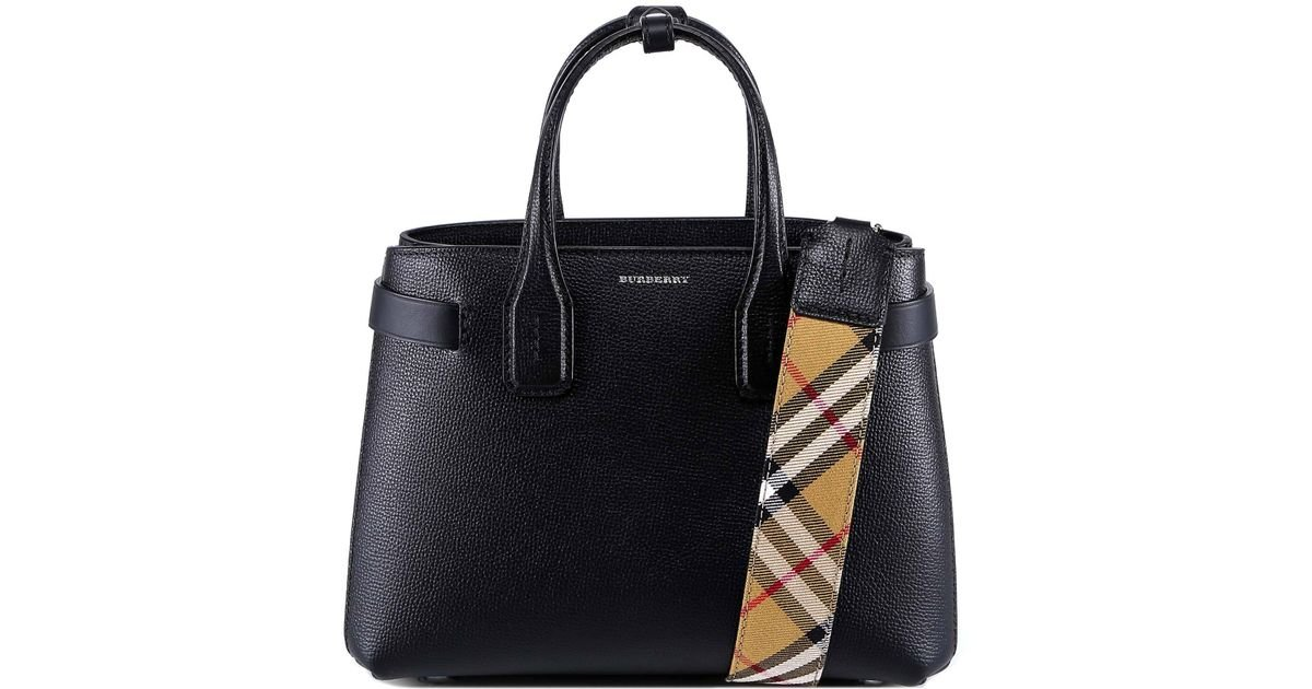 6bbd7fa8e288 Burberry Small The Banner Tote Bag in Black - Lyst