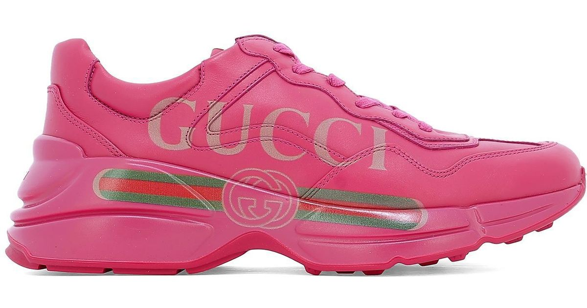 5e27803b3c2 Gucci Rhyton Sneakers in Pink for Men - Lyst