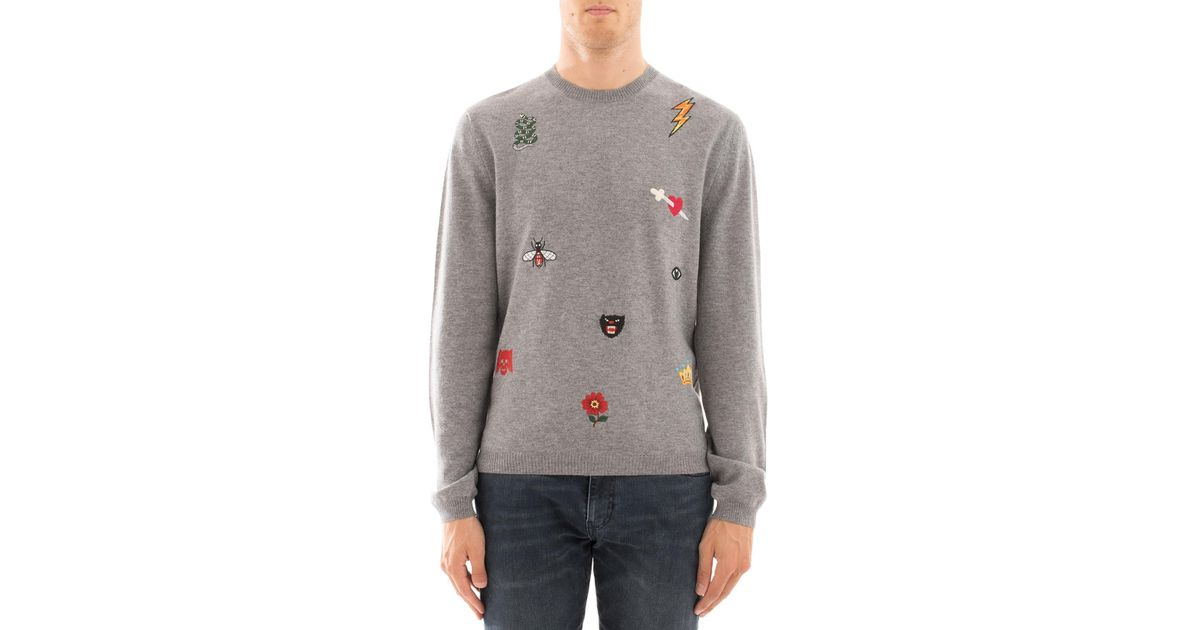 6d8e16555c Gucci Grey Embroidered Sweatshirt in Gray for Men - Lyst