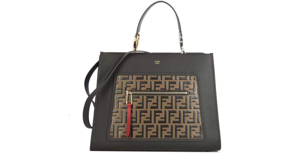 83c96ec7ad54 Fendi Medium Ff Logo Top Handle Tote Bag in Black - Lyst
