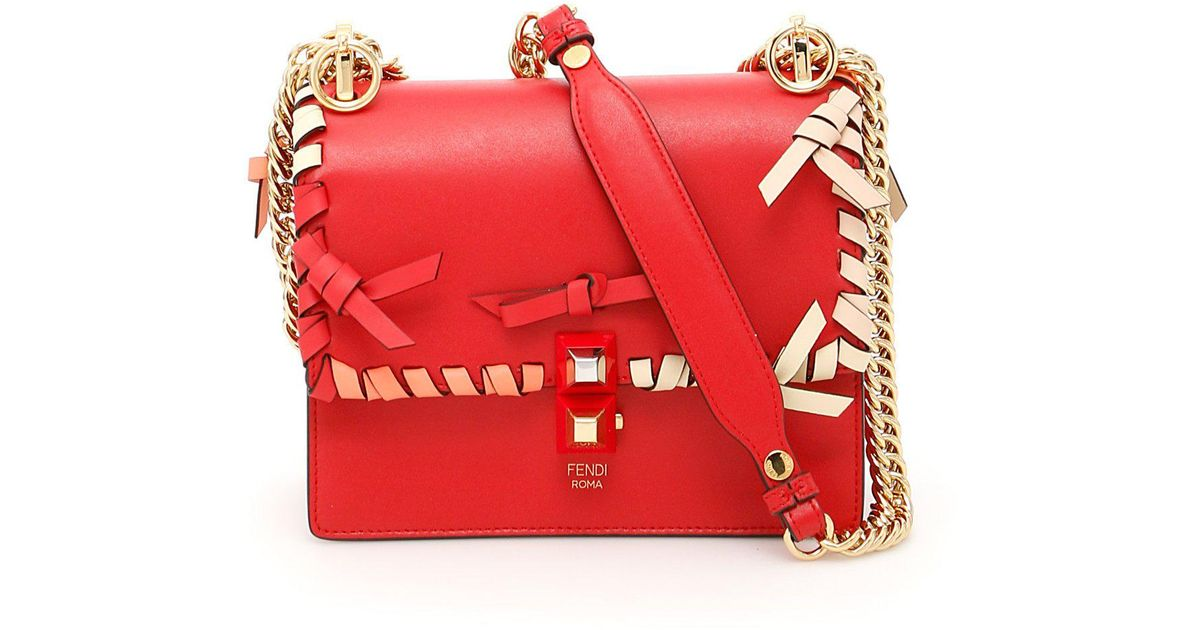 2fff9e38ac5c Lyst - Fendi Kan I Small Bow Detailed Shoulder Bag in Red