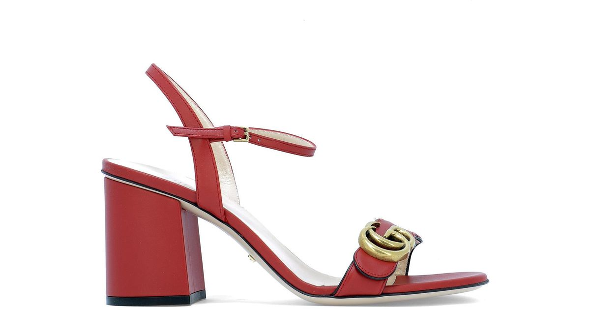 2e5d6980e2e Lyst - Gucci Red Marmont Heeled Sandals in Red - Save 17%