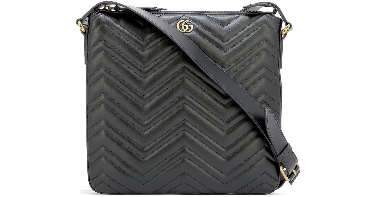 da2321b91 Gucci GG Marmont Quilted Messenger Bag in Black - Lyst
