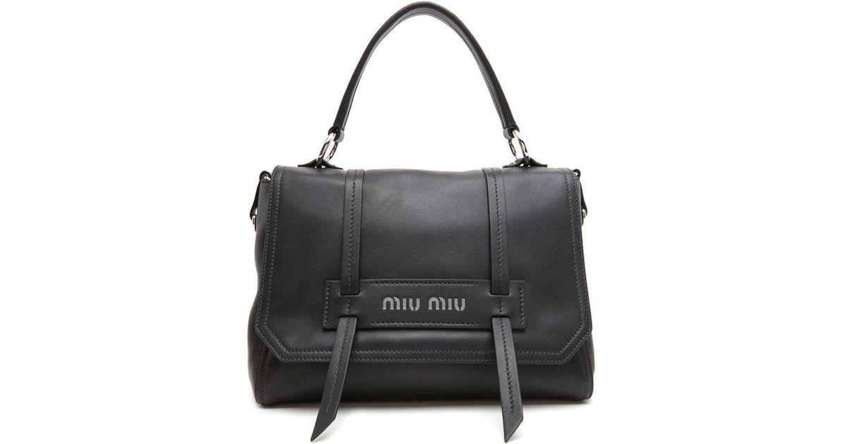 4cafed21bdb2 Miu Miu  cartella  Hand Bag in Black - Lyst