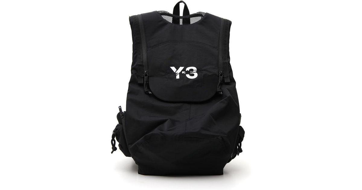 Lyst - Y-3 Foldover Top Logo Backpack in Black for Men 388c0ed3c369f