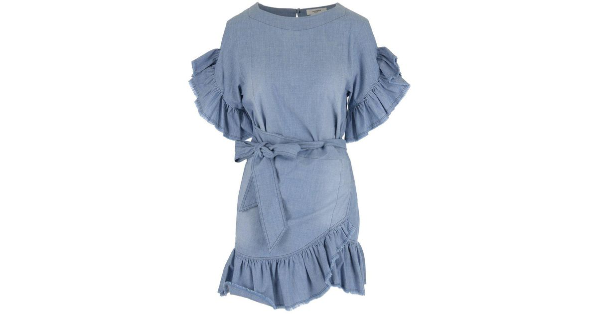 09cc952598 Lyst - Étoile Isabel Marant Frill Detailed Denim Dress in Blue