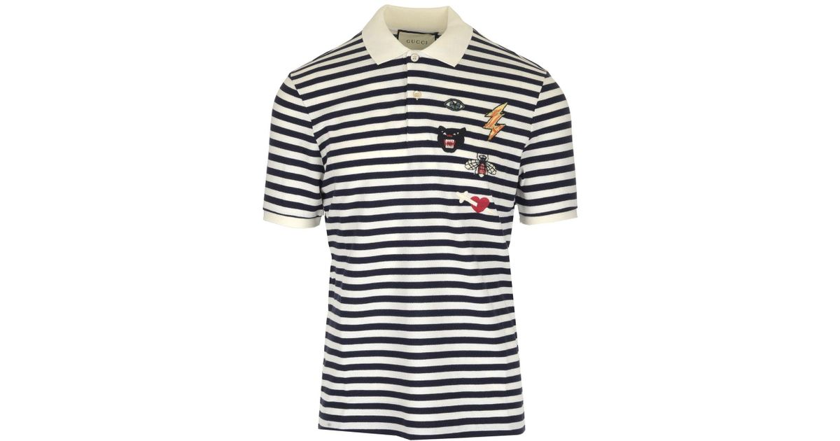 8adeaf3b Lyst - Gucci Patch Detail Polo Shirt in Blue for Men