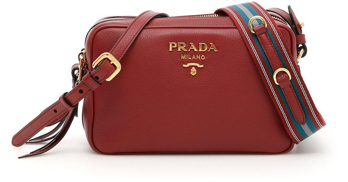 Lyst - Prada Double Zip Shoulder Bag in Red f61aa8fe86280