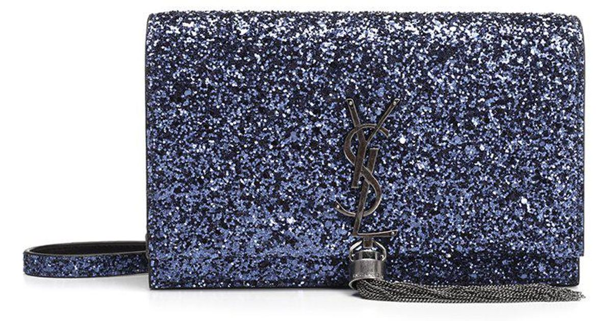 Saint Laurent Monogram Kate Clutch Bag in Blue - Lyst 116b044884c55