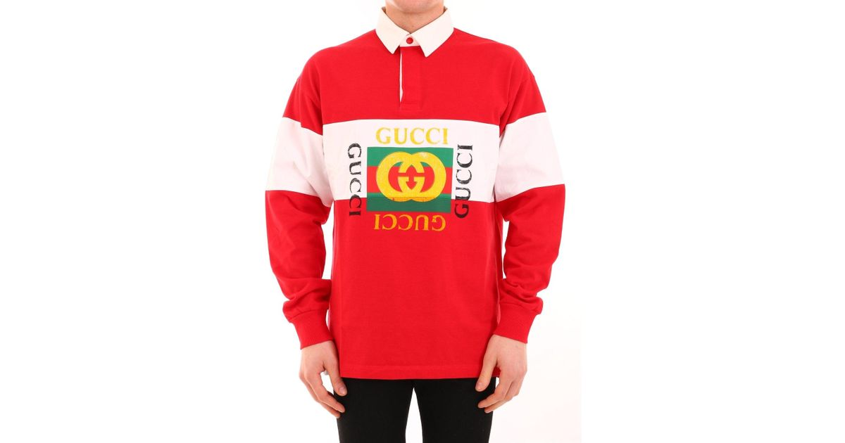 c4a04106 Gucci Oversize Cotton Polo With Logo in Red for Men - Save 38% - Lyst