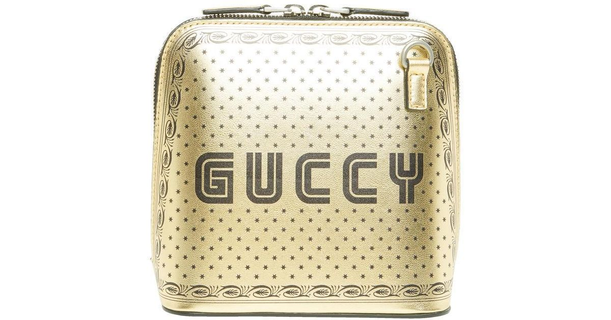 a7b6bdfd45b78c Gucci Gold-tone Guccy Mini Leather Shoulder Bag in Metallic - Save 52% -  Lyst