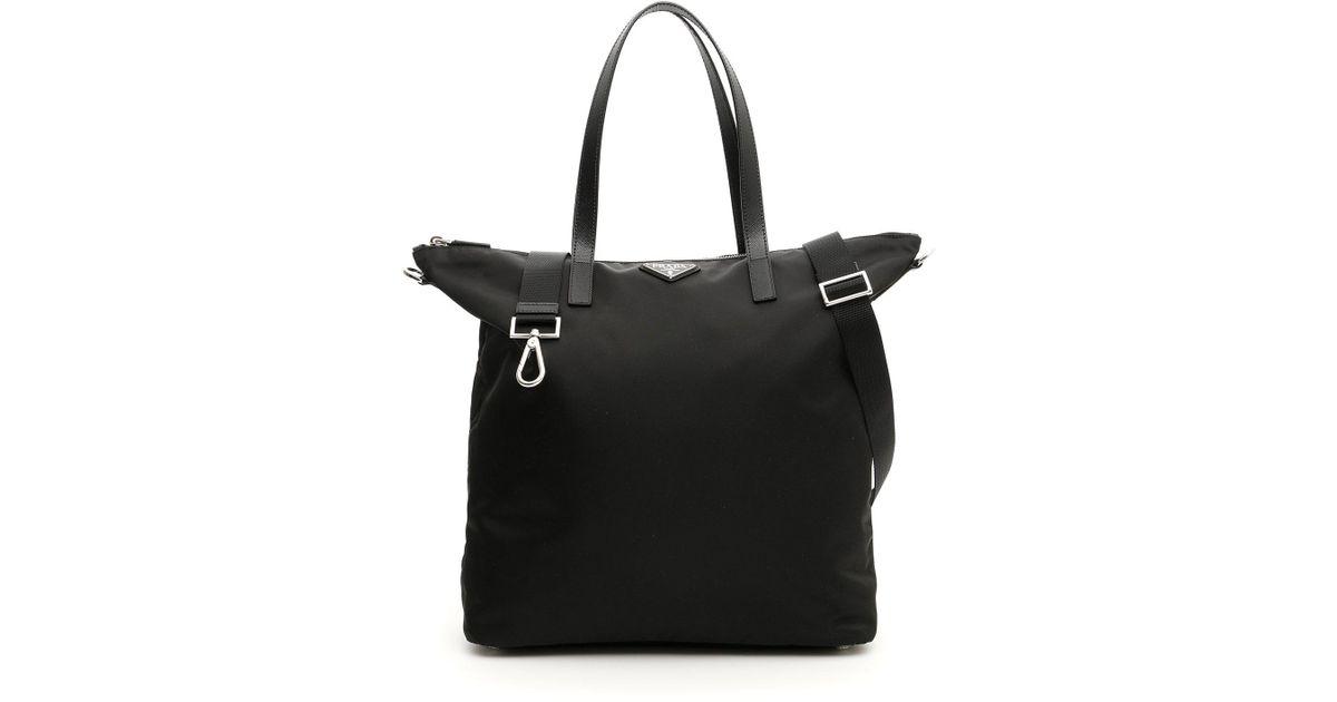 8d3db1c5b518 Prada Nylon Shopper Bag in Black - Lyst