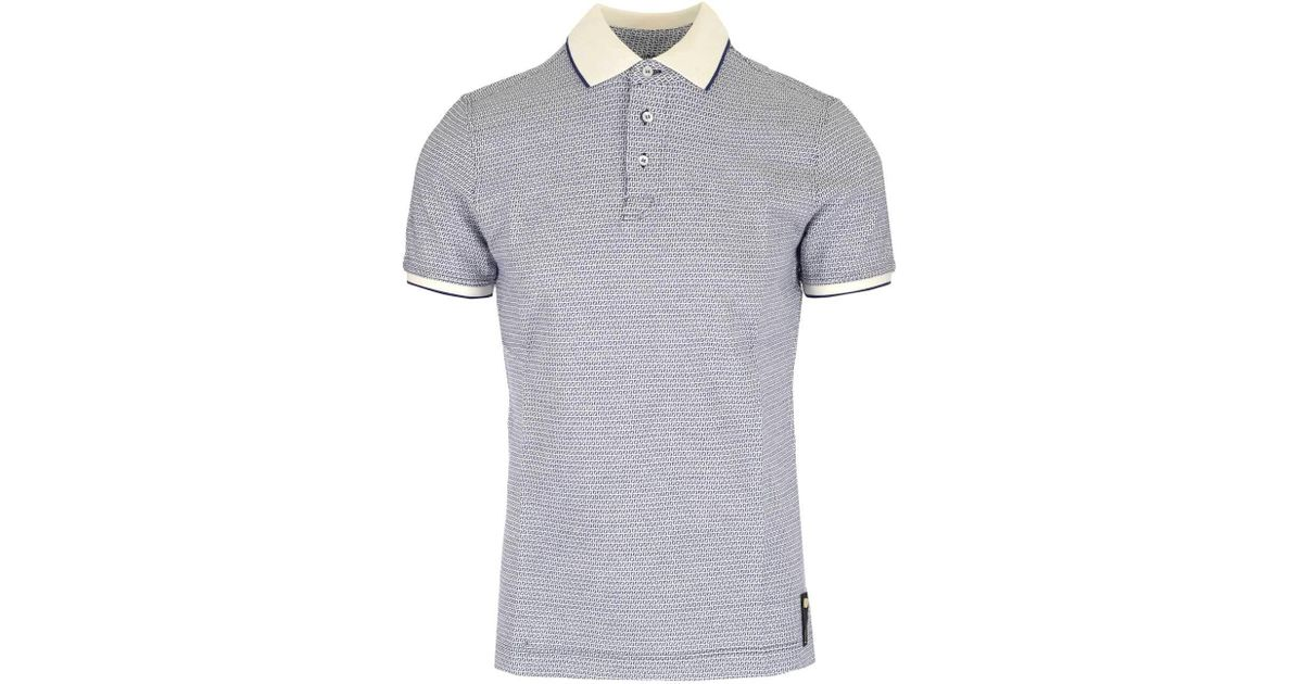 80f3a87f Fendi Ff All Over Logo Polo Shirt in Blue for Men - Lyst