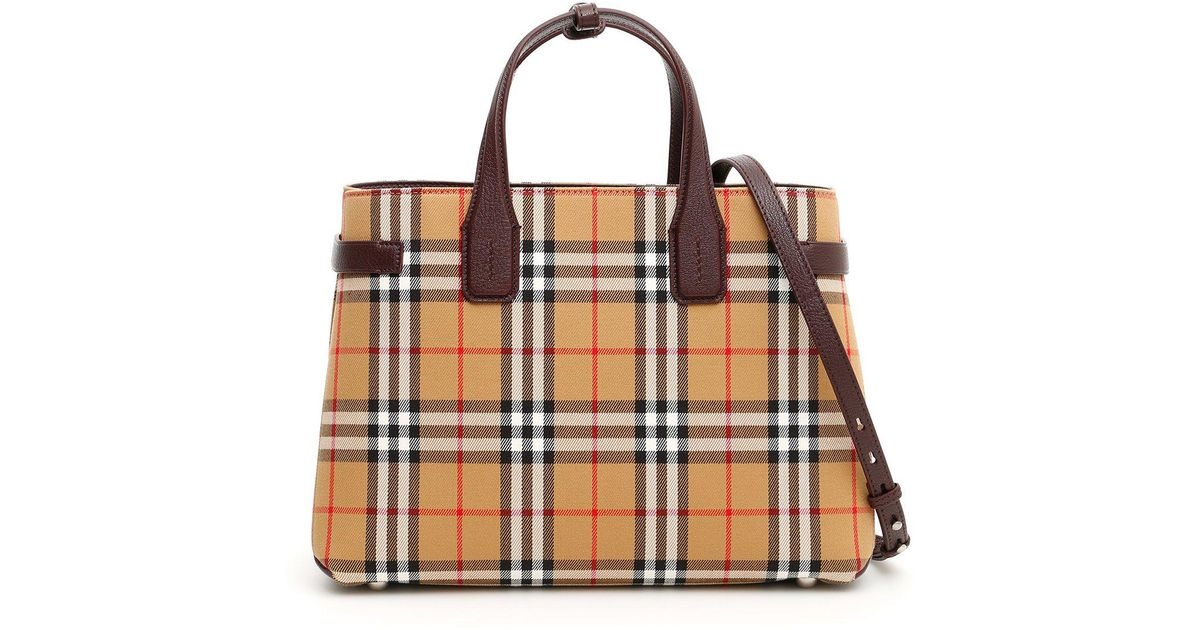 5aae89ebda Burberry Medium Banner Vintage Check & Leather Tote in Brown - Save 20% -  Lyst