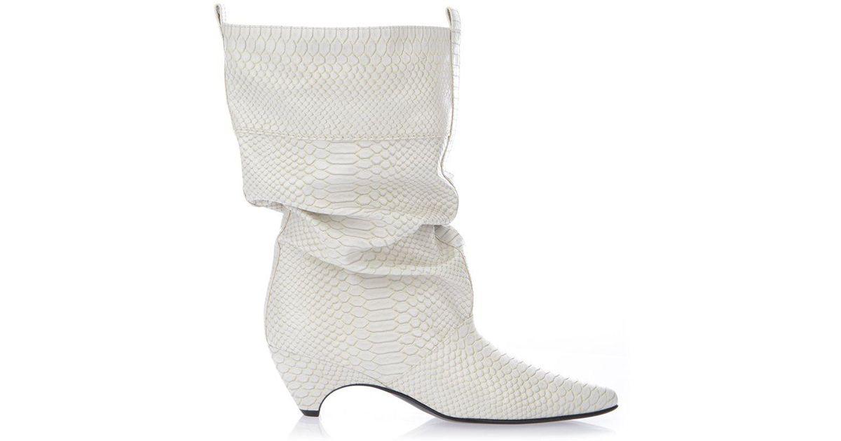 33cca027b1b Lyst - Stella Mccartney Python Print Boots in White