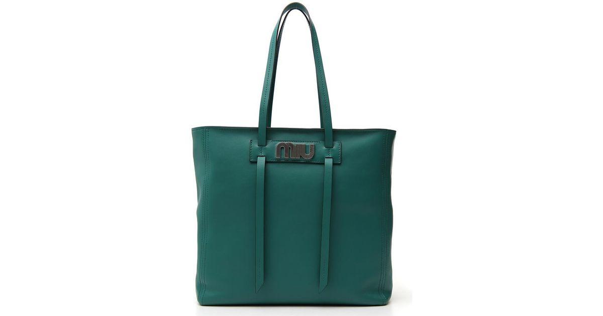 2d813d7d59b Miu Miu Shopper Tote Bag in Green - Lyst
