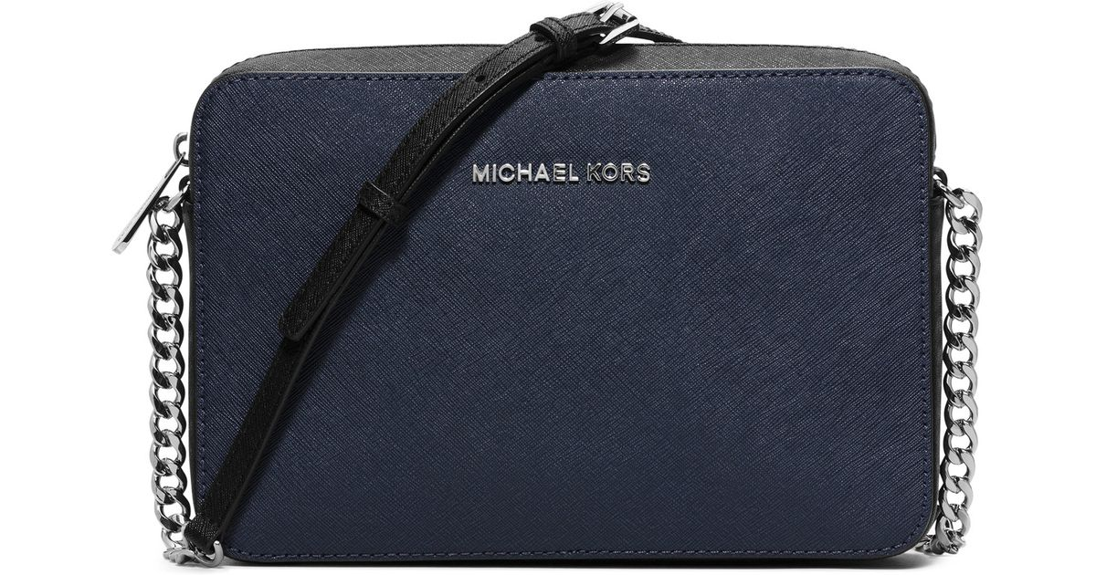 404158ba3c9722 MICHAEL Michael Kors Jet Set Travel Saffiano-Leather Cross-Body Bag in  Black - Lyst