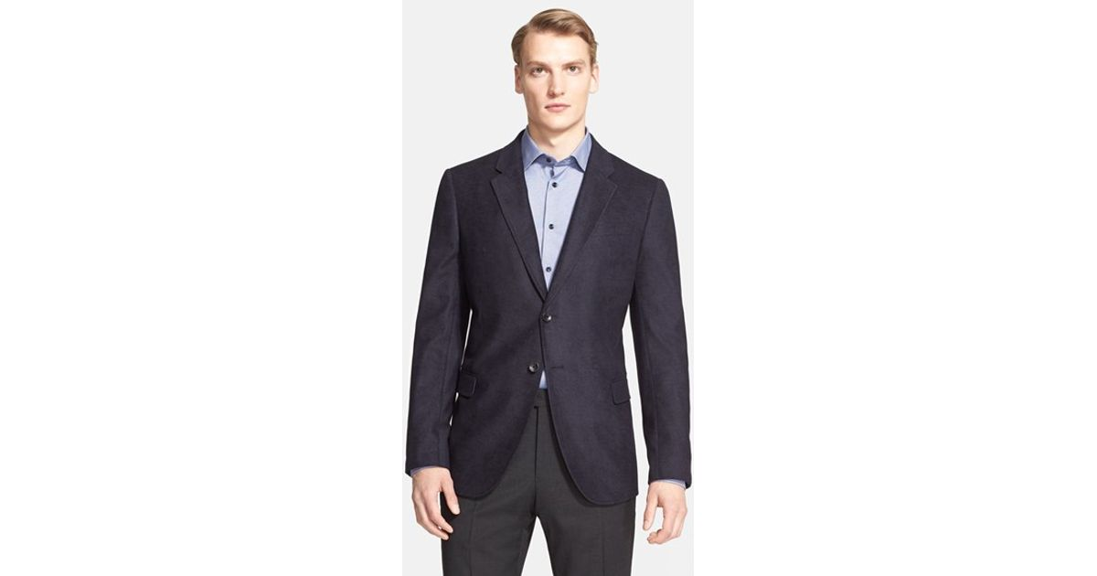 Armani Trim Fit Textured Microfiber Sport Coat in Blue for Men | Lyst
