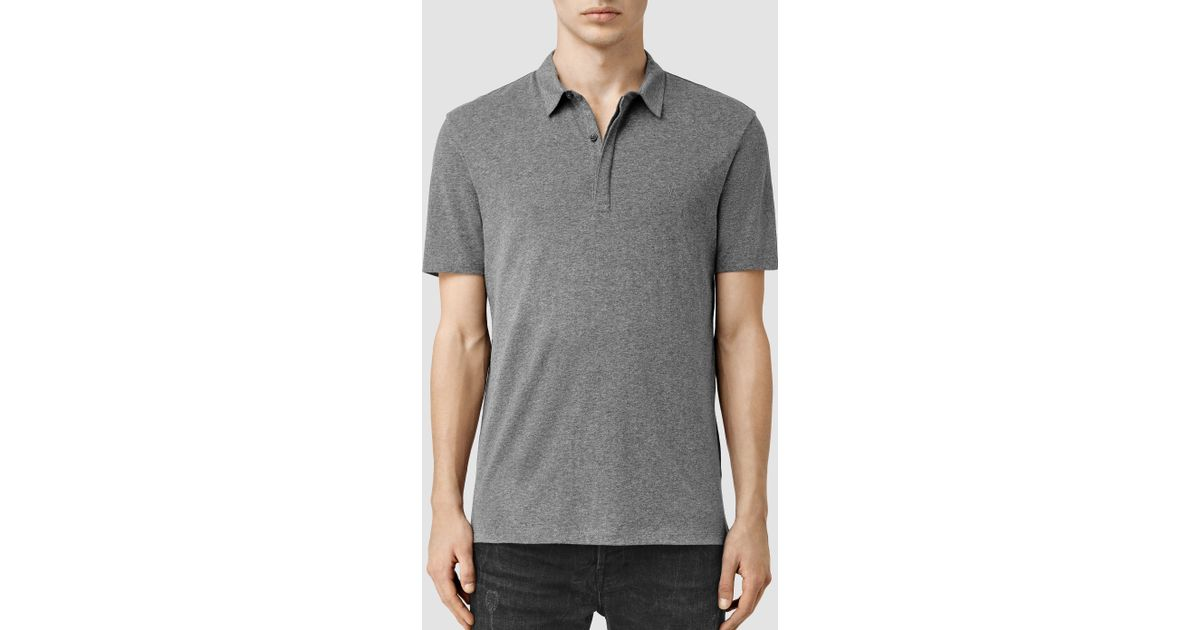Lyst allsaints tonic panel polo shirt in gray for men for All saints polo shirt