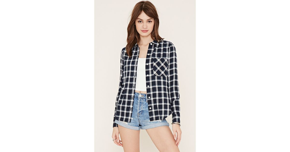 Forever 21 check flannel shirt in blue navy blue lyst for Flannel shirts for womens forever 21