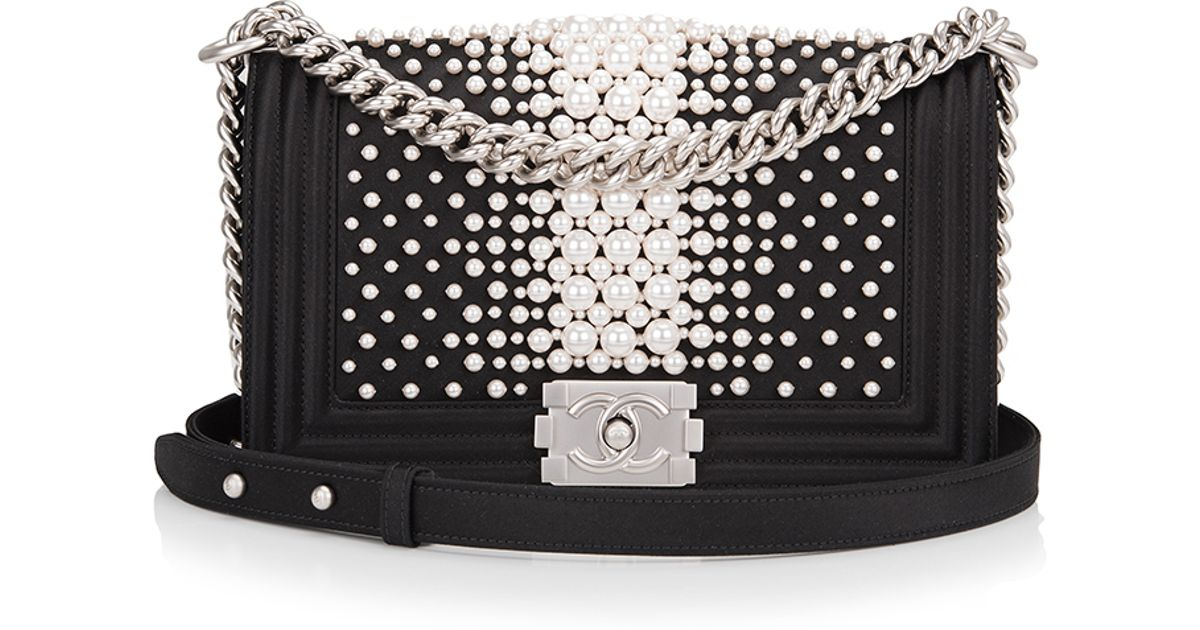 1457002c71 Madison Avenue Couture Limited Edition Chanel Black Pearl Medium Boy Bag in  Black - Lyst